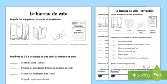Fiche d'activités: Le bureau de vote - bureau de vote, polling station, vote, élection, election, cycle 2, KS1, cycle 3, KS2, élection de