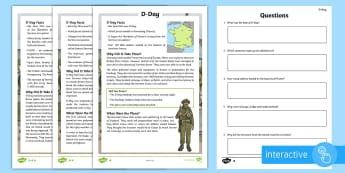 D-Day Differentiated Comprehension Go Respond Activity Sheets - Events, Reading, history, comprehension, reading, D Day, World War 2