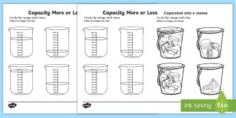 Capacity More or Less Activity Sheet English/Spanish - Capacity Matching Cards EYFS - capacity, maths, numeracy, matching cards, match, cards, eyfs, capact