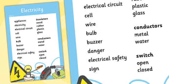 Year 4 Electricity Scientific Vocabulary Poster - posters, words