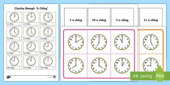 Cluiche Biongó: 'A Chlog' - O Clock time bingo, cluiche biongó: a chlog, biongó ama, Time bingo, time game, cluiche biongó, T