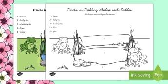 Frösche im Frühling Malen nach Zahlen - Spring UK, numeracy, number, colour, frogs, worksheet, maths, Frösche im Frühling, Frösche, Frosc
