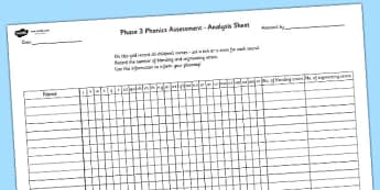 Phase 3 Phonics Letters and Sounds Analysis Sheet - phase 3, letters and sounds, DFE, phonics assessment, letters and sounds assessment, assessment sheet