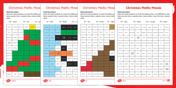 Christmas Maths (Mixed Operations) Mosaic Activity Sheets - Christmas, Nativity, Jesus, xmas, Xmas, Father Christmas, Santa, St Nic, Saint Nicholas, traditions