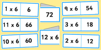 6 Times Tables Cards - times table, times tables, multiply, cards, 6, numbers