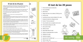 El test de los 20 pasos - Actividad, tutoría lectura comprensiva, pasos, tutor, acción tutorial, tutor, comprensión lectora