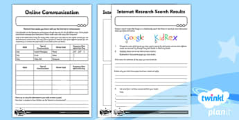 PlanIt - Computing Year 3 - Internet Research and Communication Home Learning Tasks - planit, year 3, computing, internet research and communication, home learning tasks