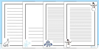 Winter Page Borders - Christmas, xmas, page border, writing aid, writing template, skis, ice skates, polar bear, whale, penguin, huskey, snow, winter, frost, cold, ice, hat, gloves