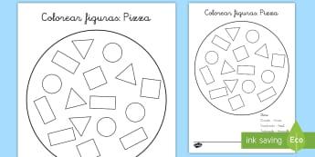 Hoja de colorear: Las figuras planas de una pizza - pizza, colorear, pintar, figuras planas, formas planas, figuras 2D, mates, matemáticas, círculo, t