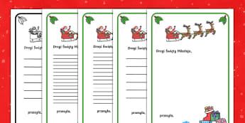 Szablony List do Świętego Mikołaja - święta, mikołaj, gwiazdor, anioł, Jezus, boże narodzenie, gwiazdka, prezenty, list, pisanie, na
