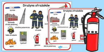 Plansza ze slownictwem Druzyna strazakow po polsku - dzieci , Polish