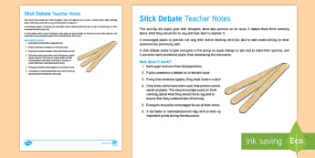 Stick Debate Teaching Ideas - debate, stick, argument, speaking and listening, discussion, turn taking,