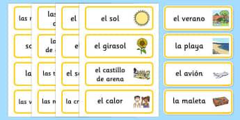 Tarjetas de vocabulario de verano - tarjetas, vocabulario, verano
