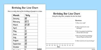 Birthdays Bar Line Chart Activity Sheets - bar and line chart worksheet, bar chart, line chart, recording birthdays, birthdays in a class, ks2 maths, ks2