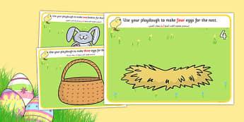 Easter Counting Playdough Mats Arabic Translation - arabic, mat, activity, playdough, play-doh, play doh, easter, counting, counting on, counting back, numeracy, easter counting mat, easter playdough, activity mat, activity, fun, playdough activity m