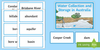 Water Collection and Storage in Australia Word Wall Display Cards - Water in Australia, collection, storage, rivers, lakes, water, basin, underground water,Australia