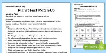 Planet Fact Match-Up Activity Sheet, worksheet