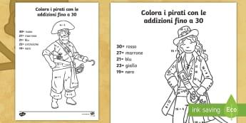 Colora i pirati con i numeri fino a 30 Attività - addizione, sottrazione, italiano, italian, calcoli, colora, con, i , numeri, matematica, materiale,