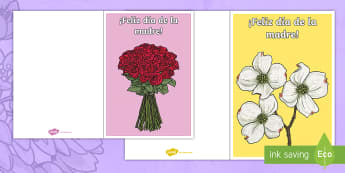 Mother's Day Gift Card Template - Spanish, KS2, vocabulary, mother's, day, gift, card, template