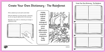 The Rainforest Key Vocabulary Create Your Own Dictionary