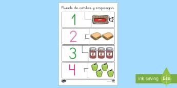 Puzzle de sequenciar números - La comida - puzzle, números, emparejar, contar
