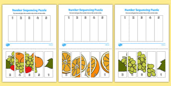 Fruit Themed Number Sequencing Puzzle - numbers, order, sort