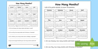 How Many Months? Activity Sheet - Mathematics, Year 1,  Measurement and Geometry, Using units of measurement, ACMMG021, how many month