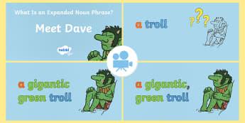 SPaG-Tastic!: Meet Dave (What Is an Expanded Noun Phrase?) KS1 Video - SPaG, spag-tastic, video, film, clip, dave, troll, noun phrase, expanded noun phrase, adjectives, y2