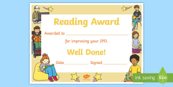 Improved ZPD Certificate - Accelerated Reader, AR, ZPD, Reading, Fiction, Non Fiction, Reading Comprehension,Scottish
