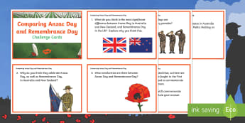 Comparing Anzac Day and Remembrance Day Challenge Cards - KS1&KS2 ANZAC day (UK market) April 25th 2017, history, challenge cards
