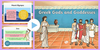 Ancient Greek Gods - greek gods, greek gods information powerpoint, greek gods and goddesses, facts about the greek gods, ks2 history powerpoint, myth