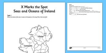 X Marks the Spot Seas and Oceans of Ireland Worksheet - gaeilge, ireland, x, spot, seas, oceans