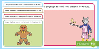 Playdough Mats to Support Teaching on Mr Wolf's Pancakes - fine motor skills, playdough