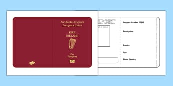 Irish Passport Template - Passport, Design, holiday, holidays, travel, passport design, fine motor skills, card template, holidays, water, tide, waves, sand, beach, sea, sun, holiday, coast
