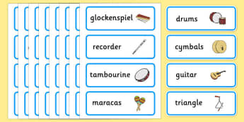 Music Topic Word Cards - Music, instrument, word card, flashcard, word cards, playing instruments, piano, drums, guitar, recorder, violin, triangle, cymbals, notes, music