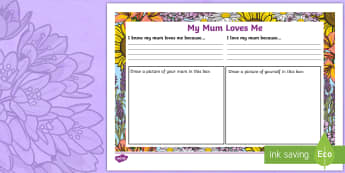 My Mummy Loves Me Writing Template - NI Mother's Day, Mummy love, mothering sunday, mother's day, mums, pshe, relationships