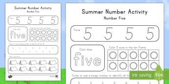 Summer Number Five Activity Sheet - Summer, summer season, first day of summer, summer vacation, summertime, number recognition, number