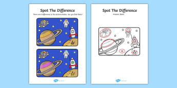 Space Spot the Difference Activity - spot, difference, space