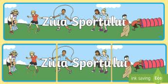 Ziua Sportului Banner - sport, ziua sportului școlar, ziua sportului, educație fizică, română, diplome, activități sp