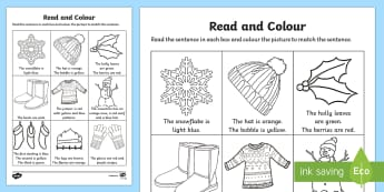 Winter Read and Colour Activity Sheet - winter, read and colour, read, colour, activity