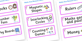 Flamingo Themed Editable Maths Area Resource Labels - Themed maths resource labels, maths area resources, Label template, Resource Label, Name Labels, Editable Labels, Drawer Labels, KS1 Labels, Foundation Labels, Foundation Stage Labels, Teaching La