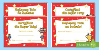 Certyfikaty Dzień Ojca - certyfikat, certyfikaty, wyróżnienie,wyróżnienia, szablony, szablon, dzień, ojca, taty, rodzina