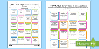 New Class Bingo English/German - games, classroom games, preparation, trasition, bump up day, tranistion, tranition, transisition, tr
