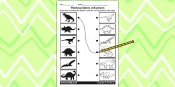 Dinosaur Shadow Matching Worksheet - shadows, silhouettes, match