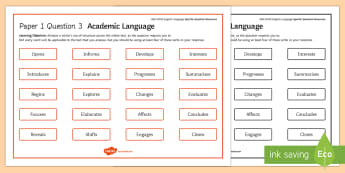 AQA Eng Lang P1 Q3 Academic Language Word Mat - AQA GCSE Specific Question Resources, structure, language, vocabulary