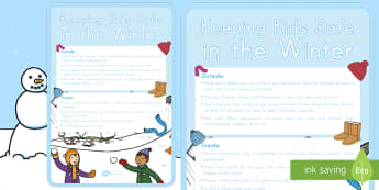 Keeping Kids Safe in the Winter A2 Display Poster - safe, winter, cold, weather, snow, ice, warm, clothes, clothing, protect,