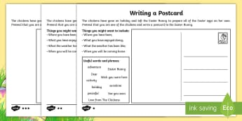 Saving Easter Writing a Postcard Home Activity Sheets - Children's Books, children, book, books, story, stories, Twinkl, original, Saving Easter, save, sav