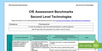 CfE Second Level Technologies Assessment Benchmarks Tracker - CfE Benchmarks, tracking, assessing, progression, numeracy, literacy, health and wellbeing,Scottish
