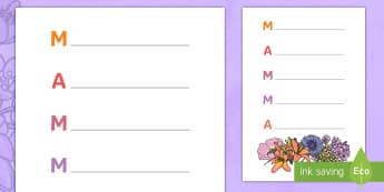 Festa della mamma Poesia Acronistica Attività - festa, della, mamma, poesia, regalo, acronistica, scrivere, scrivi, italiano,  italian, materiale, s