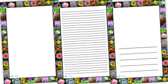 Flower Photo Page Borders - flower, photo page borders, photo borders, page borders, flower page borders, flower photo borders, writing frames, lined pages